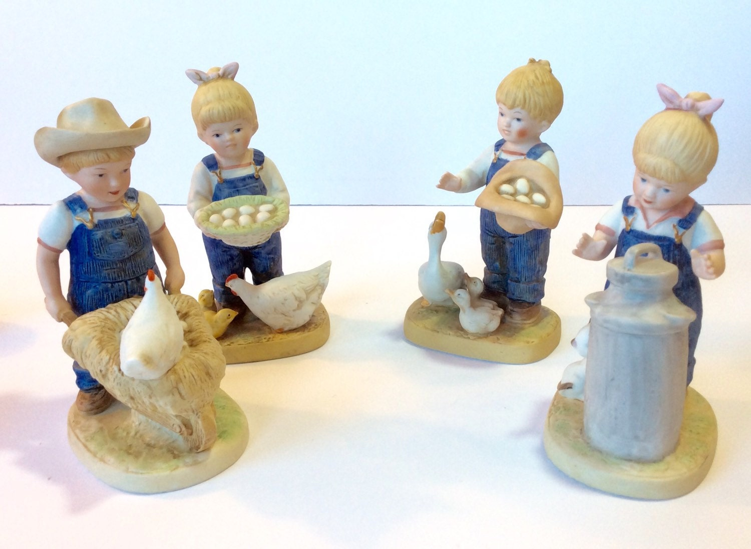 Homco Denim Days 4 Figurines Morning Chores And Gathering Eggs
