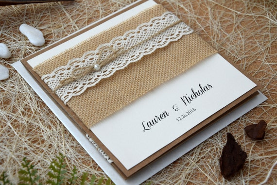 Wedding Invitations Kit: Custom Invitations 20 Rustic Lace Wedding Invitation Kits
