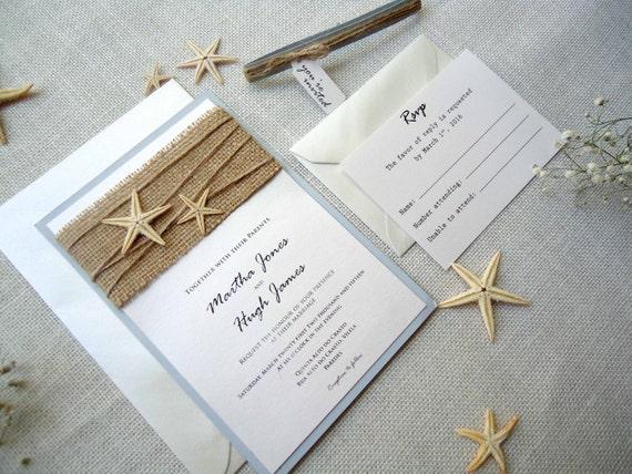 Etsy Beach Wedding Invitations: Custom Invitations Burlap Wedding Invitations By