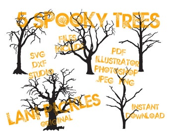 Spooky Halloween Trees Silhouette Cut File, Clip Art, Vector Graphics, DIY Window and Wall Art or Decals