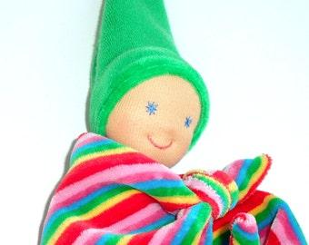 Multicolor Lovey blanket, Waldorf first baby doll, Teething security blanket, Handmade babyshower gift, Newborn snuggle blanket