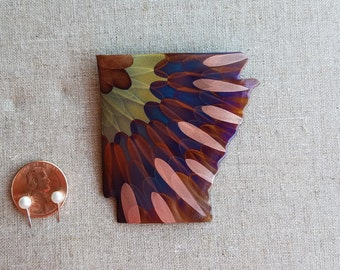 Flame painted copper Arkansas, magnet