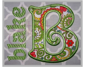 Blake Applique Monogram Set – Uppercase Letters - 2″ 3″ 4″ - Machine Embroidery Applique Embroidery Fonts Instant Download 11 Formats BX PES