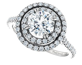 Double Halo Engagement Ring - 1.51ctw Round Cut Forever Brilliant Moissanite and Diamonds