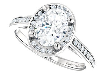 1.95ctw Oval White Sapphire & Diamond Halo Engagement Ring