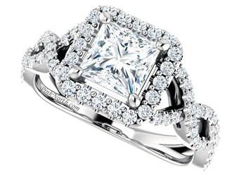 1.42ctw Princess Cut Moissanite & Diamond Halo Engagement Ring