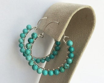 Cute turquoise sterling silver loops earrings handmade with sterling silver wire