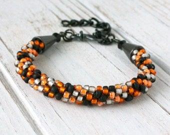 Orange and Black - Halloween Jewelry - Black and Orange - Halloween Bracelet - Womens Bracelet - Beaded Kumihimo Bracelet - Unique Gift