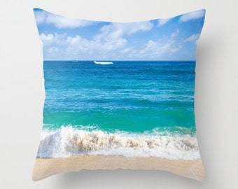 Hawaii beach Throw Pillow Personalized Ocean Sea Beach Cottage Living Room Teal Blue Tropical Home Photo Pillow Turquoise, ocean bedding