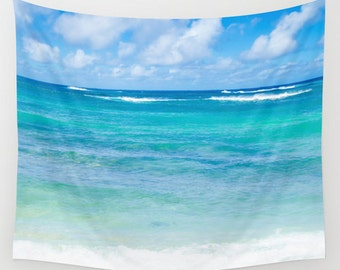 Ocean Wall Tapestry with tropical ocean in Hawaii, beach, blue turquoise ocean wave wall hanging decor accent, 51x60, 68x80, 88x104 Inches