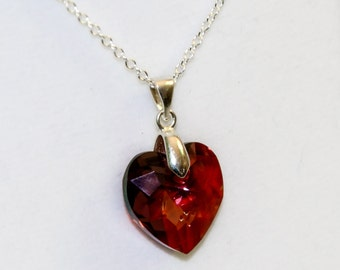 Valentine;s day gift for her Red Swarovski heart necklace sterling silver love necklace gift Swarovski heart crystal romantic jewelry