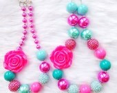 Turquoise and Pink Chunky Bead Necklace