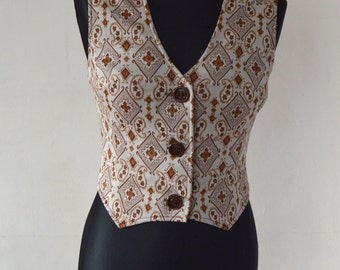 Brown Beige Women Vest Colorful Romantic Tapestry Waistcoat Traditional Baroque Steampunk Country Small Medium Size