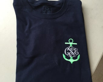 Monogrammed Anchor Long Sleeve Tshirts! Embroidered! Personalized!