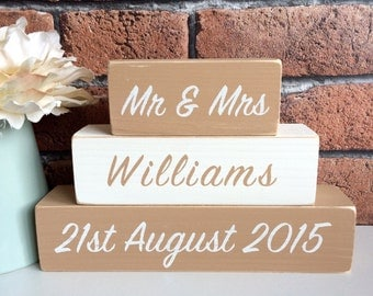Personalised Hand Painted Wooden Wedding Engagement Mr & Mrs Shelf Sitter Blocks