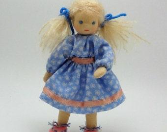 Bendy doll, dollhouse doll, posable Waldorf style doll, blond hair, blue eyes