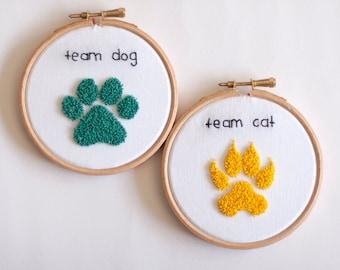 EMBROIDERY WALL ART Sales! - footprint cat dog