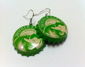 Mother Earth Brewing Company Beer Bottle Cap Earrings
