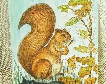 Original Squirrel Watercolor Woodland