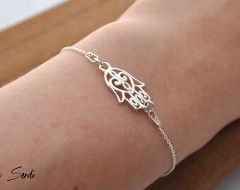 Sterling Silver Hamsa Bracelet, Pendant Hamsa, Hamsa Silver, Hamsa bracelet, Silver Hand, Hand of Fatima, Hand of Buddha, hand talizman