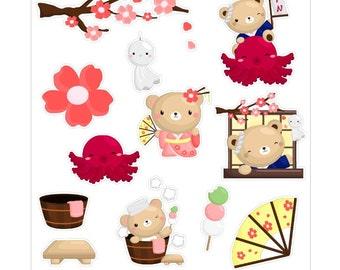Japanese Bear Stickers//D005