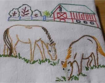 Horses Grazing Near Barn  Kitchen Flour Sack Dish Towel
