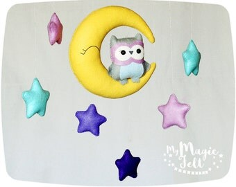 Baby mobile owl Crib mobile moon and stars Baby mobiles owl and stars Childrens mobile owl Baby shower gift Owl Nursery decorations