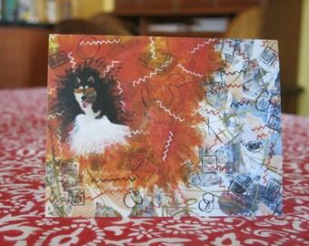 "Greeting Card ""Orange Husky"" created by Cynthia Shaw www.IridianCards.com"