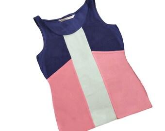 Navy, Pink and Mint Colorblock Tank Top - Organic Sleeveless Shirt - Organic Cotton Clothing