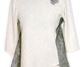 Ladies Linen Tunic Top with Dark Gray Linen Side Inserts