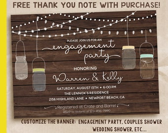 Engagement Party Invitation, Rustic Engagement Party Invitation, Printable Engagement Party Invitation, Engagement Invitation