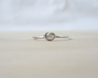 Silver Knot Ring - Minimal Sterling Silver Ring - Knot Simple Ring - Thin Silver Ring - Thin Silver Ring - Cute Knot Ring Sterling Silver