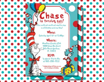 Dr. Seuss Birthday Invite, Dr. Seuss Party, Dr. Seuss digital invitation, Dr. Seuss printable invite, Cat in the hat invite, Thing 1 and 2