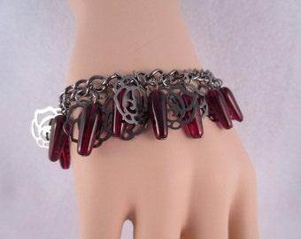 Gunmetal Rose Bracelet