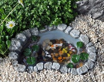 Koi Fish Pond   Desktop Mini Zen, Miniature Fairy Gardens Terrarium  Container Garden