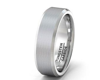 Mens White Brushed Tungsten Carbide Wedding Band