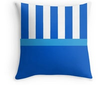 Blue Stripe Pillow, Blue Pillow, Blue White Pillow Case, Blue Stripes Pillow, Blue Toss Pillow