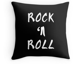 Rock and Roll Pillow, Music Pillow, Music Quote Pillow, Rock Roll Toss Pillow, Music Decor, Music Throw Pillow, Music Bedding, Music Room