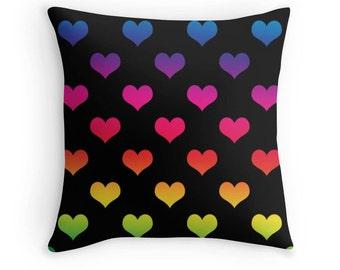 Rainbow Heart Pillow, Rainbow Pillow Cover, Heart Pillow, Rainbow Heart Pillow, Rainbow Nursery, Tie Dye Print, Rainbow Throw Pillow