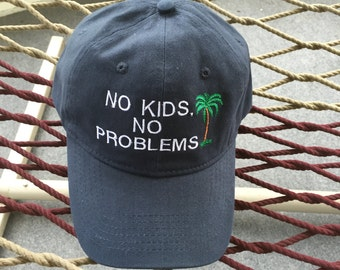 No Kids, No Problems With A Palm Tree- Navy Hat With White Lettering
