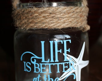 Hand made Beach Themed Candle Holder - Life Is Better At The Beach