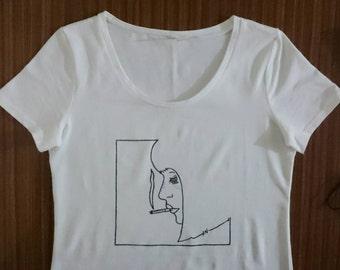 Womens Scoop Neck Smoking Girl Shirt