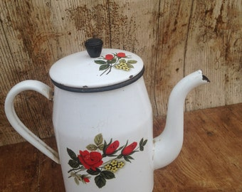 Vintage French Cream Enamel Teapot