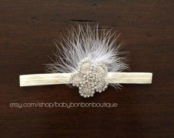 Baby headband, baptism headband, rhinestone headband, flower girl headband, christening headband