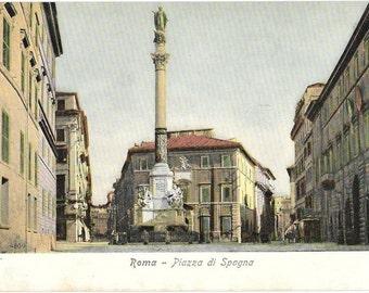 Roma, Piazza di Spagna, Rome, Italy, Antique Circa 1918 Unused Non Posted Color Postcard