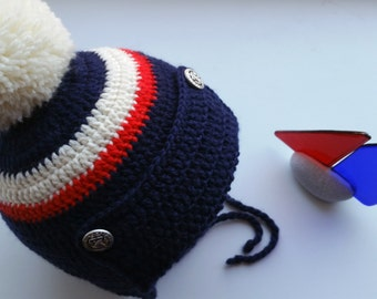 Boy's hat, earflap hat, crochet hat, Pompom hat, Merino wool hat, navy blue hat, aviator hat, pilot hat, All sizes available, Made to order