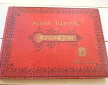 French stamp album  800 postage stamps 1880s - 1950s world stamp collection mainly 1920s  & 30s Philately