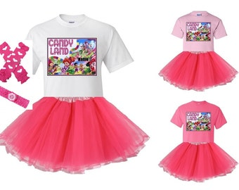 CandyLand White or Pink T-Shirt and Pink Tutu Set with FREE Personalization