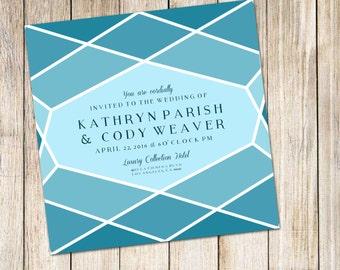 25-300 Geometric Honeycomb Wedding Invitations