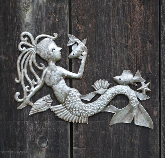 "Mermaid talking with Fish,  Haitian Recycled Metal Wall Art, 17"" x 10"""